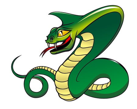 Green danger snake isolated on white as a warning concept Vector