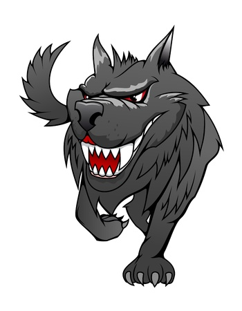 ferocious: Wild danger grey wolf in cartoon style isolated on white Illustration