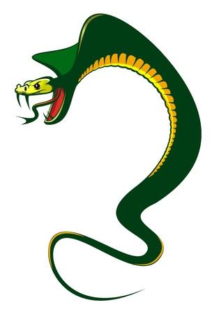 serpiente cobra: Peligro serpiente verde aislado en blanco como un concepto de advertencia