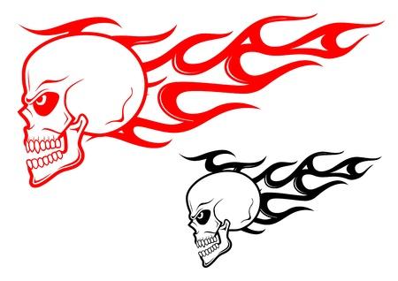 calavera caricatura: Peligro cr�neo con llamas como una advertencia o un concepto mal