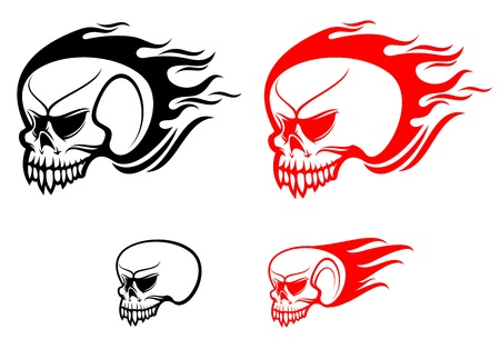 Danger skulls with flames as a warning or evil concept Vector