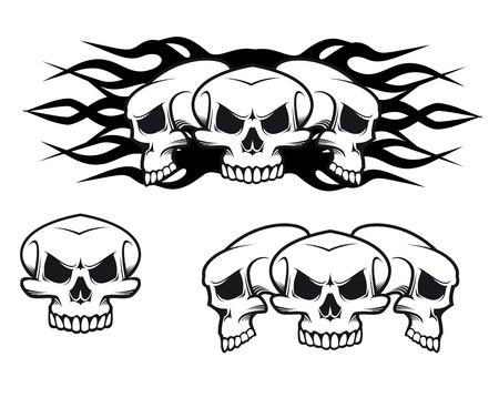 dark eyes: Danger skulls as a tattoo or evil concept Illustration