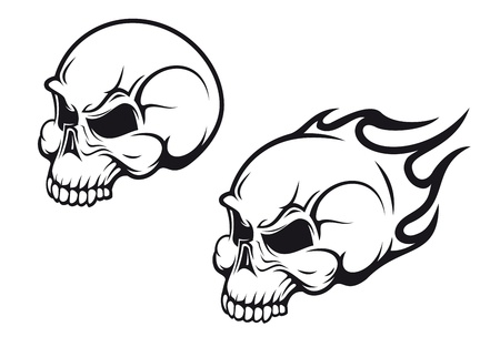 Danger skulls as a tattoo or evil concept Illustration