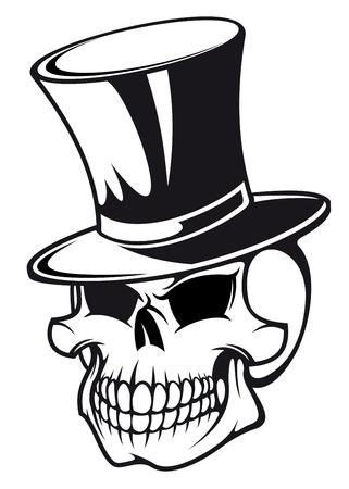 Skull in black hat for tattoo design