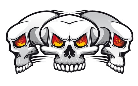 Danger evil skulls as a tattoo isolated on white Vector