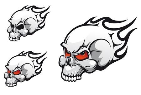 Danger evil skulls as a tattoo isolated on white Stock Vector - 11082433