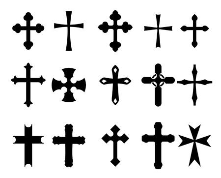 jesus on cross: Set di simboli religiosi croce isolato su bianco Vettoriali