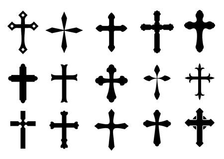 j�sus croix: Jeu de symboles de la croix religieuse isol� sur blanc Illustration