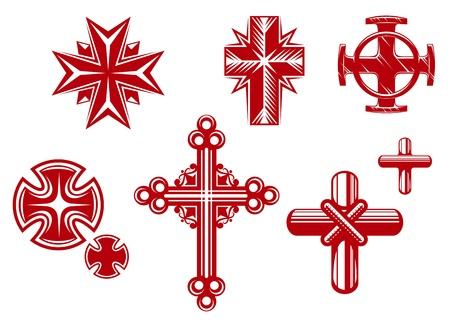 kruzifix: Set religi�ser Kreuze und Symbole f�r Religion Design Illustration