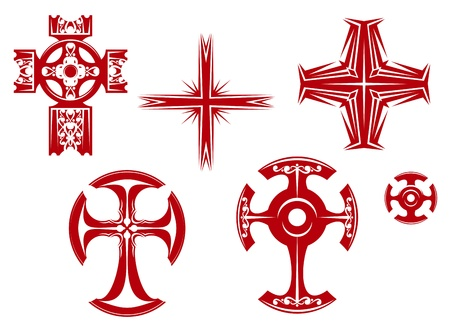 Set of religious crosses and icons for religion design Vector