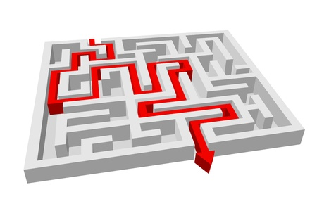 difficult to find: Labyrinth - maze puzzle for solution or success concept
