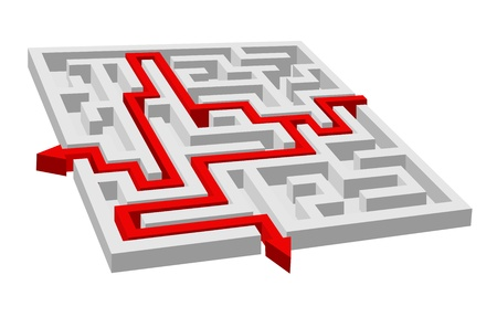 Labyrinth - maze puzzle for solution or success concept Vector