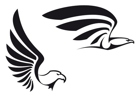Black eagles isolated on white background for mascot or emblem design Vector