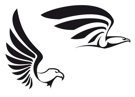 halcones: �guilas negro sobre fondo blanco para la mascota o el dise�o del emblema