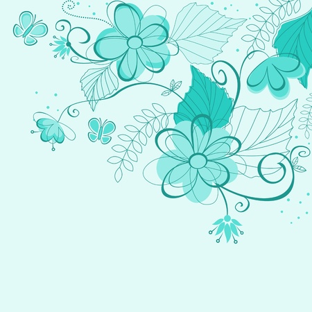 Blue abstract floral background for textile or invitation card design Vector