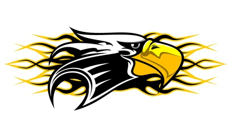 aguila americana: Mascota de dibujos animados de águila con llamas para diseño de tatuaje