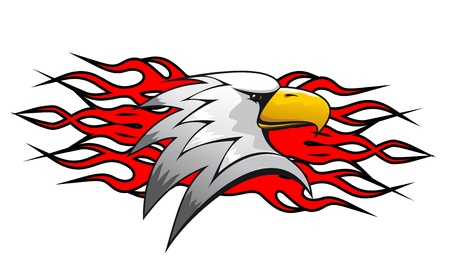 falcons: Bird cartoon mascot with red flames for tattoo design Illustration