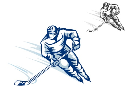 Moving hockey player in retro style for winter sports design Vector