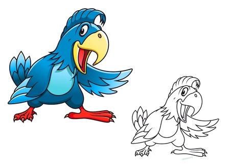 guacamaya caricatura: Loro de la historieta azul sobre fondo blanco