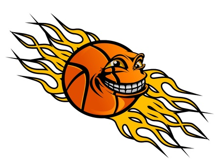 professional basketball league: Flying funny basketball ball with flames for sports tattoo design