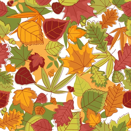 Autumn leaves seamless background for seasonal design Vector