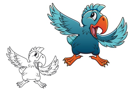 macaw: Cute cartoon parrot isolated on white background Illustration