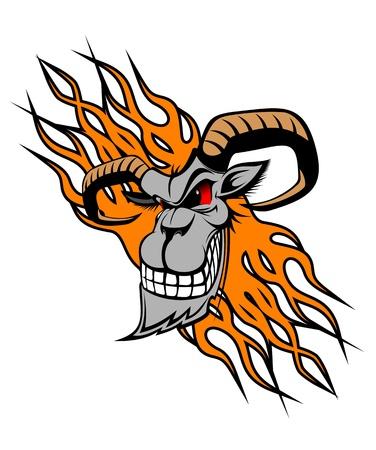 carnero: Cabra salvaje con las llamas como un tatuaje o una mascota Vectores
