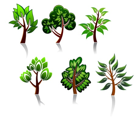 seasonal forest: Tree icons set for ecology or environment design