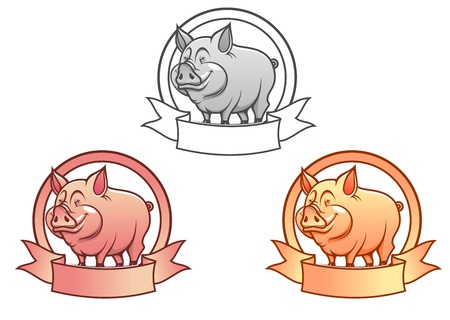 piglet: Cartoon farm pig mascot with ribbon for agriculture concept Illustration