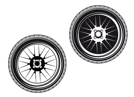 road surface: Car wheels and tyres isolated on white background Illustration