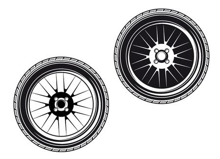 ruedas de coche: Ruedas de coche y los neum�ticos aisladas sobre fondo blanco