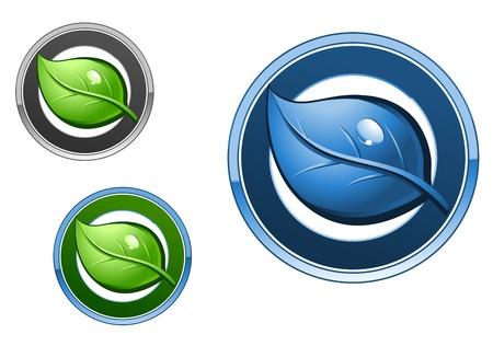 Leaf emblems and icons set for ecology design