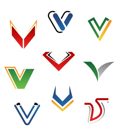 Set of alphabet symbols and elements of letter V Vector