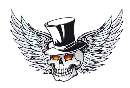 Skull with wings in black hat for tattoo design Stock Vector - 11157311