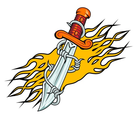 dagger tattoo: Dagger with barbed wire and flames for tattoo design