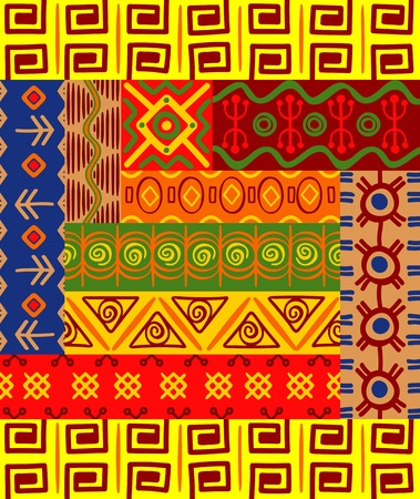 native african ethnicity: Abstract ethnic patterns and ornaments for design Illustration