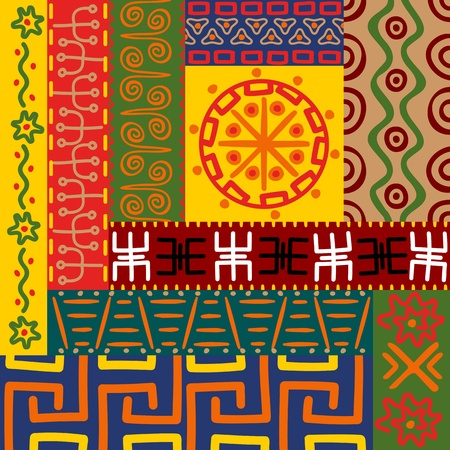 primitives: Abstract ethnic patterns and ornaments for design Illustration