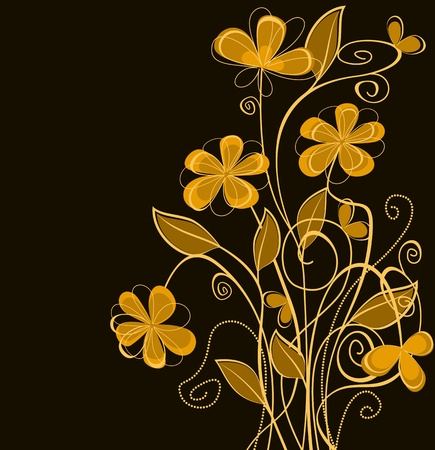 Orange floral background for invitation card design Stock Vector - 11240380