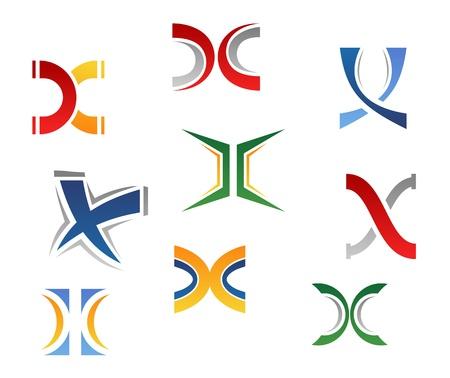logotipo abstracto: Conjunto de s�mbolos del alfabeto y los elementos de la letra X