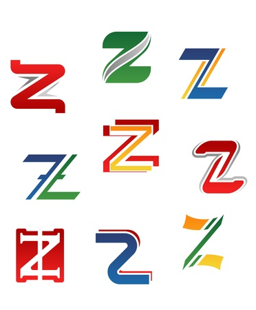 Set of alphabet symbols and elements of letter Z Vector