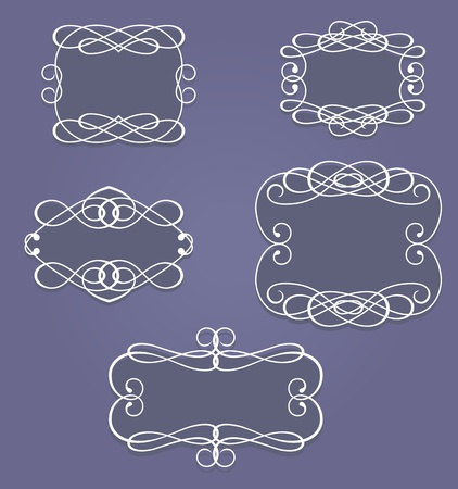 Set of vintage frames and borders in retro style Vector