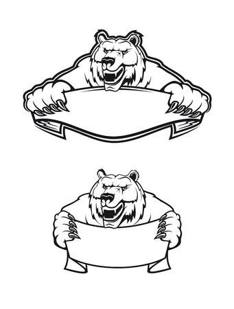 agression: Sauvage kodiak ours comme une mascotte isol� sur fond blanc