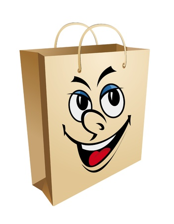 Shopping bag with smiling face for for retail and sale design Vector