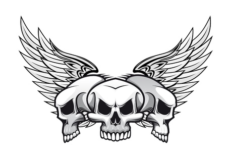 evil face: Three danger skulls with wings for tattoo or mascot design