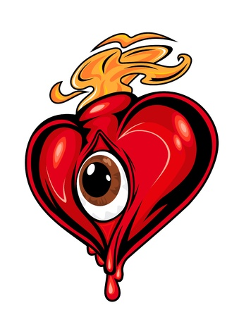 gothic heart: Cartoon red heart with eye for concept design