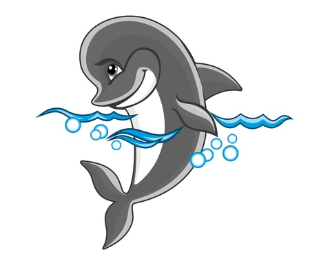 Beautiful cheerful dolphin in water for children book design Vector