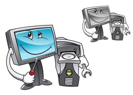 Computer with tools for repair service concept Vector