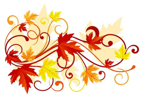 autumn leaf frame: Autumn colorful leaves background for thanksgiving design Illustration