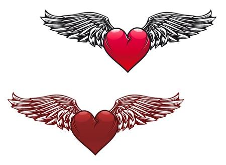 corazon con alas: Retro con alas de dise�o del tatuaje