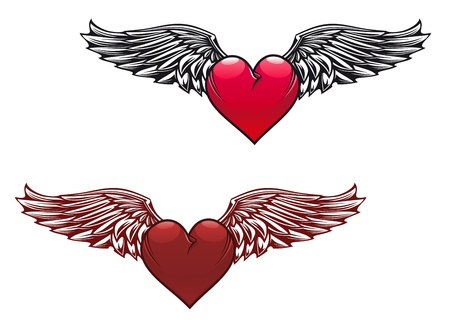heart with wings: Retro heart with wings for tattoo design